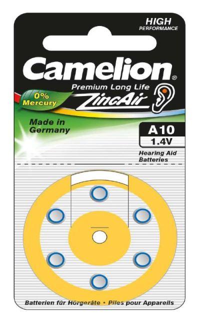 Boton Audifono A10/Amarillo 1.4V 0% Mercurio (6 pcs) Camelion