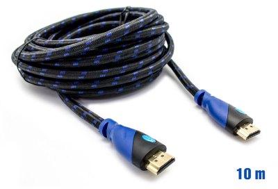 Cable HDMI Mallado v.1.4 M/M 28AWG Azul/Negro 10m BIWOND