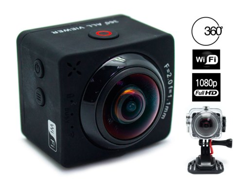 Cámara 360º Action Panorámica Full HD+Wifi+Accesorios