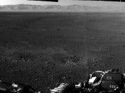 This full-resolution image of the Martian surface was taken by Curiosity's navigation cameras. The rim of the Gale Crater is seen in the distance. (Image: Courtesy of NASA)