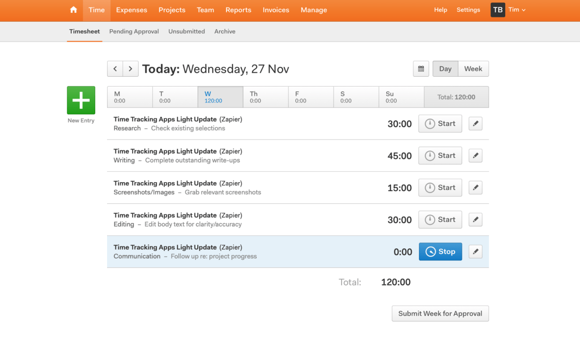 Harvest time tracking and invoicing app