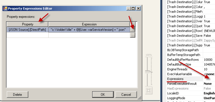 SSIS DataFlow Expression - Edit Component Property Expression