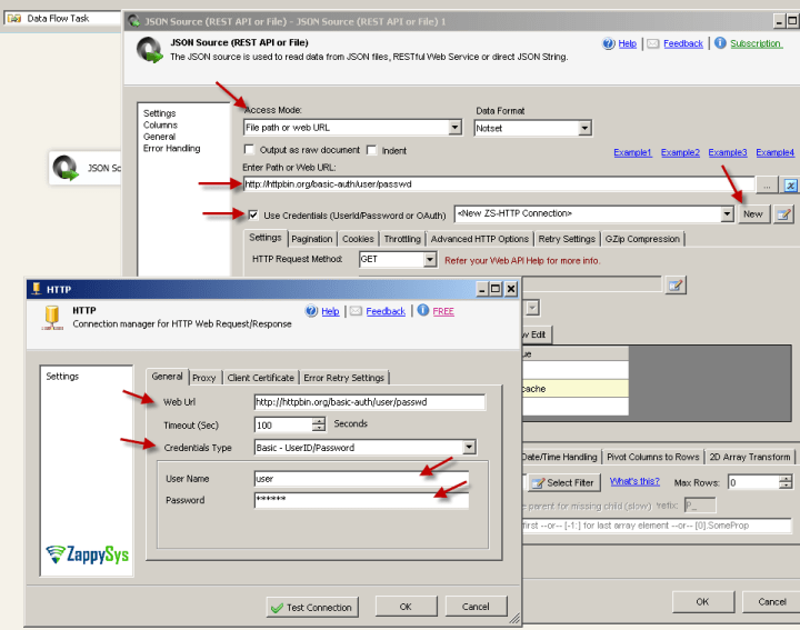 SSIS JSON Source - Passing Basic Credentials (Supply UserID / Password) using HTTP Connection