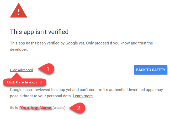 How to ignore Google Unsafe App Warning (OAuth Flow)