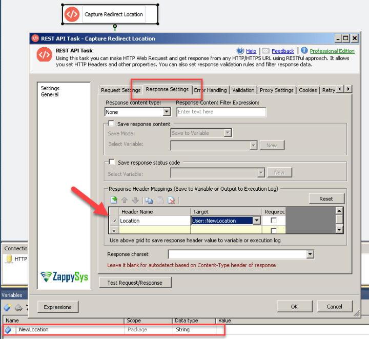SSIS REST API Task - Map response header to SSIS Variable
