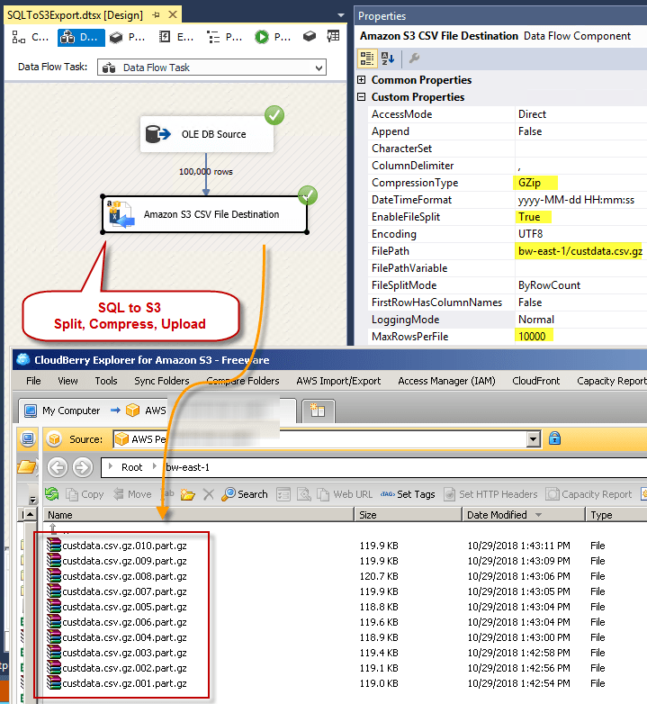 Loading SQL Server data into S3 Bucket Files (Split, Compress Gzip Options) – SSIS Amazon S3 CSV File Destination