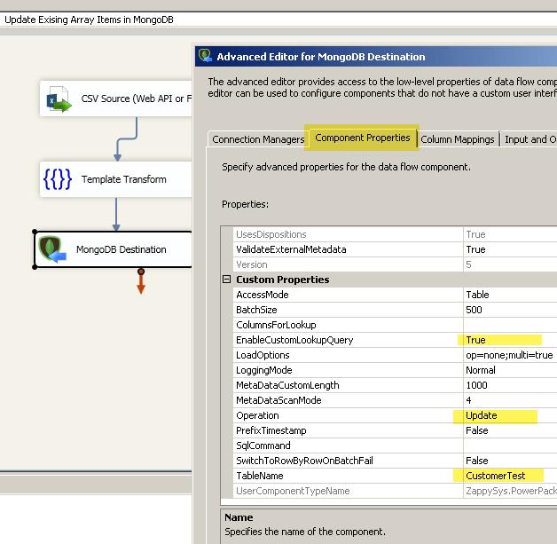 Update or Insert - Upsert MongoDB Array Items using SSIS | ZappySys Blog