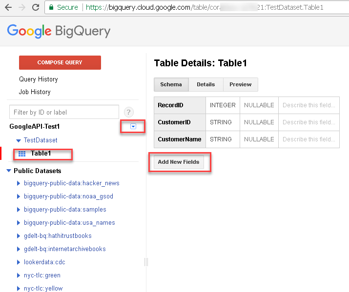 Create sample dataset and table for Google BigQuery Load