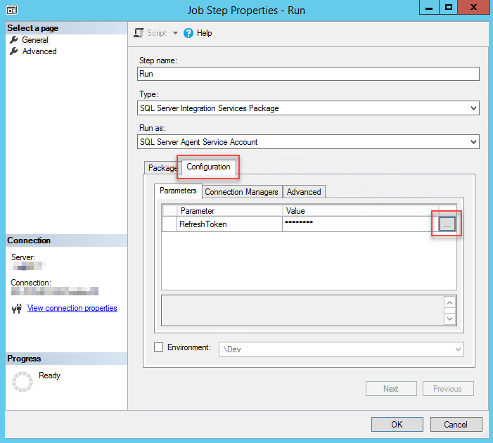Configuring parameter for SSIS package which is run from SSIS Catalog