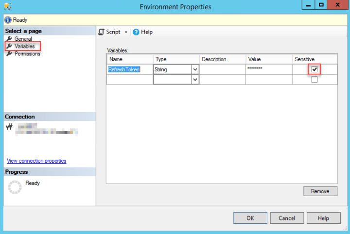 Creating a sensitive parameter in SSIS environment