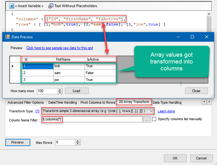 Convert JSON to CSV File using SSIS: Transforming JSON array values into columns