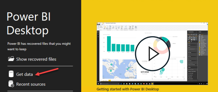 Get data using power bi