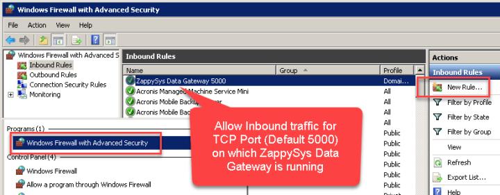ZappySys Datagateway - Allow Inbound Traffic on Port 5000 Firewall Rule