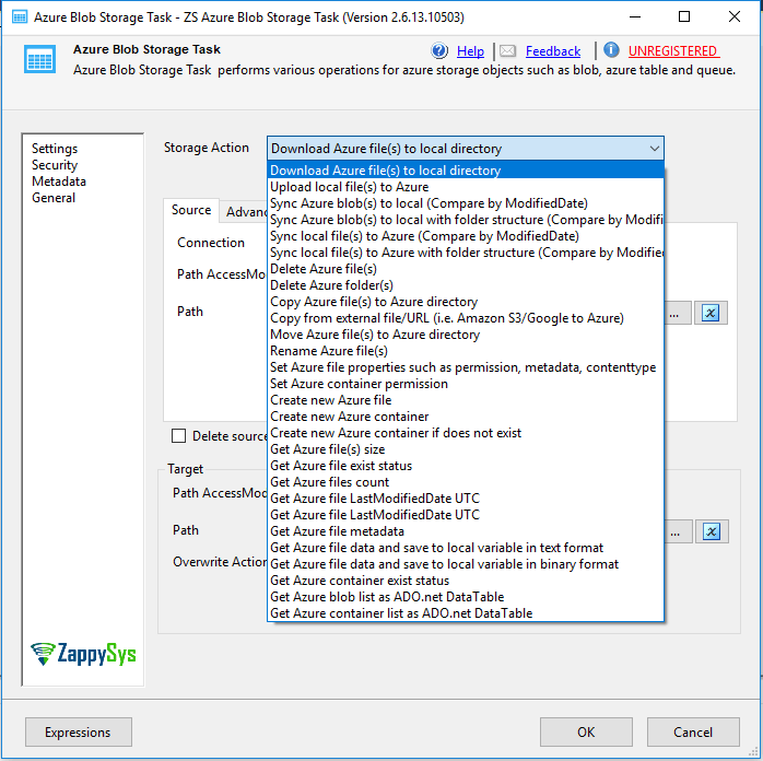 How to download files from Azure Blob Storage in SSIS