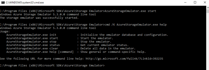 Command Prompt Screen after Microsoft Azure Storage Emulator Started