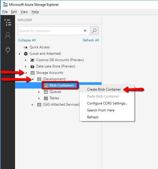 Microsoft Azure Storage Explorer : Create Blob Container