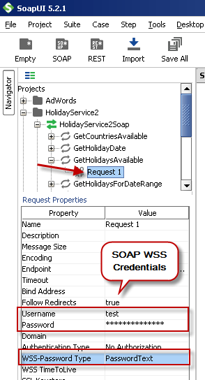 Configure SOAP WSS Credentials for SoapUI (SOAP API Testing Tool)