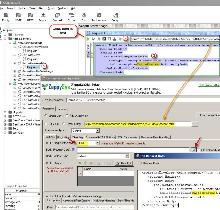 ZappySys XML Driver - Calling SOAP API - Configure URL, Method, Body