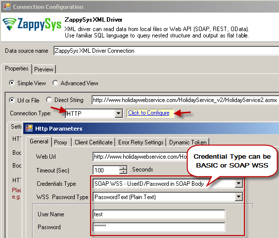 ZappySys XML Driver - Configure SOAP WSS Credentials or Basic Authorization (Userid, Password)