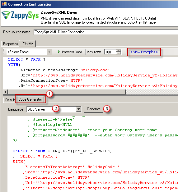 Generate Example Code for ZappySys Driver