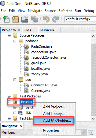 Add library in NetBeans