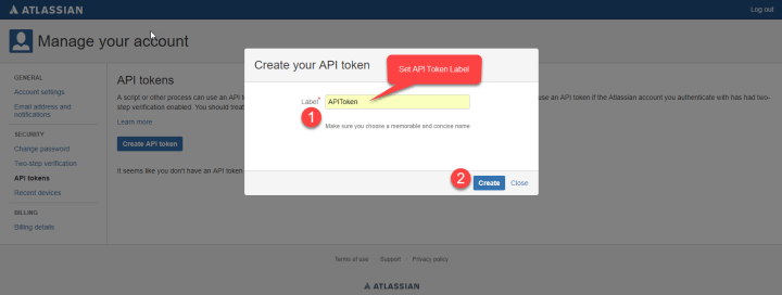 Generate API Token - Step - 2