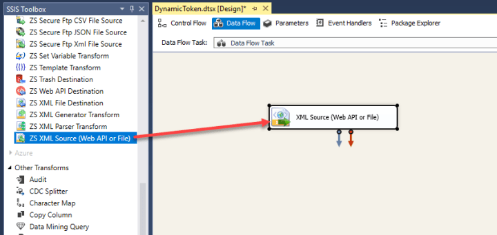Drag and Drop ZS SSIS XML Source Component