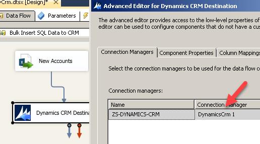 Select Connection for Dynamics CRM Destination