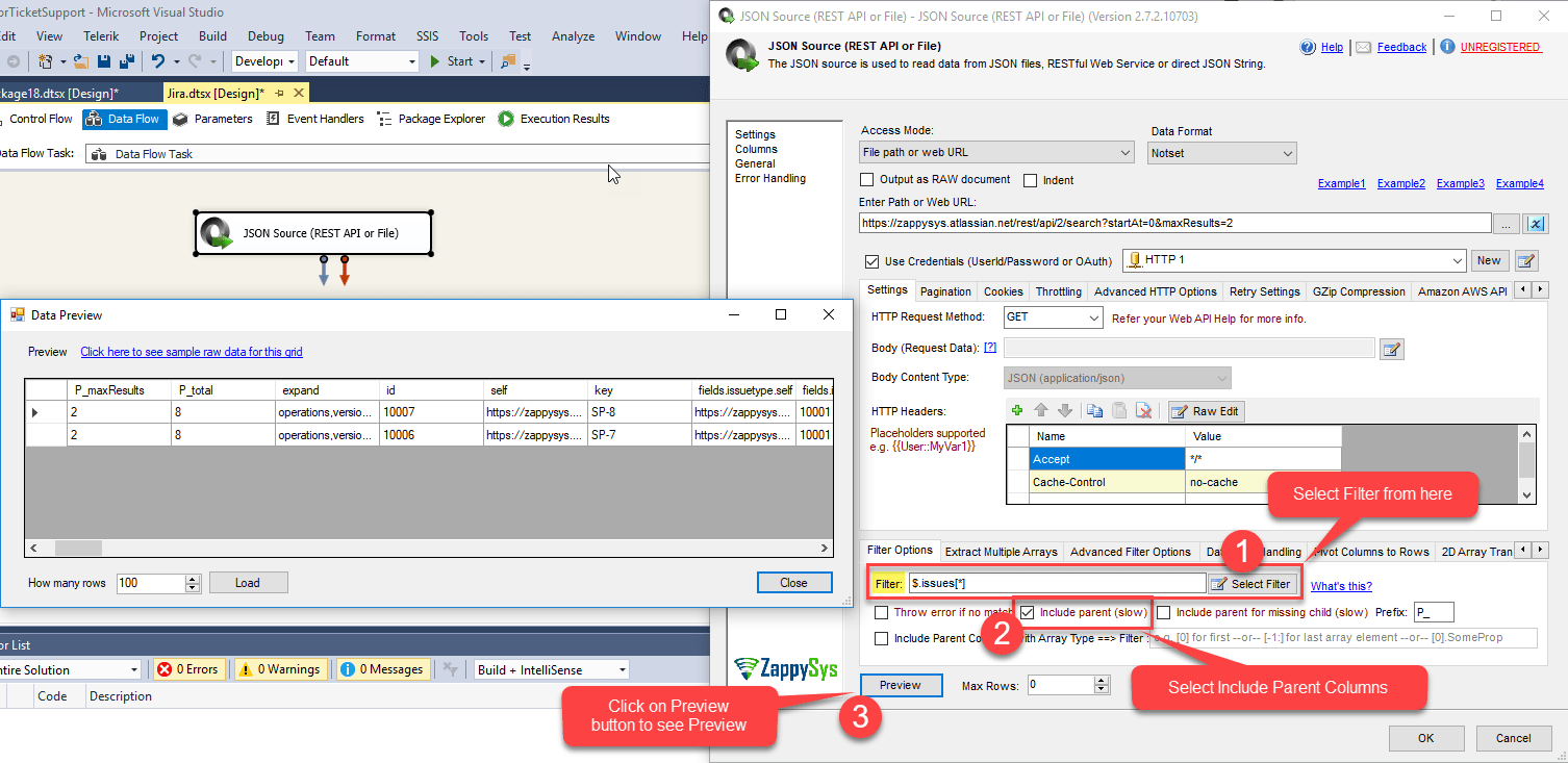 How to read JIRA data in SSIS - Call REST API / Load to SQL Server