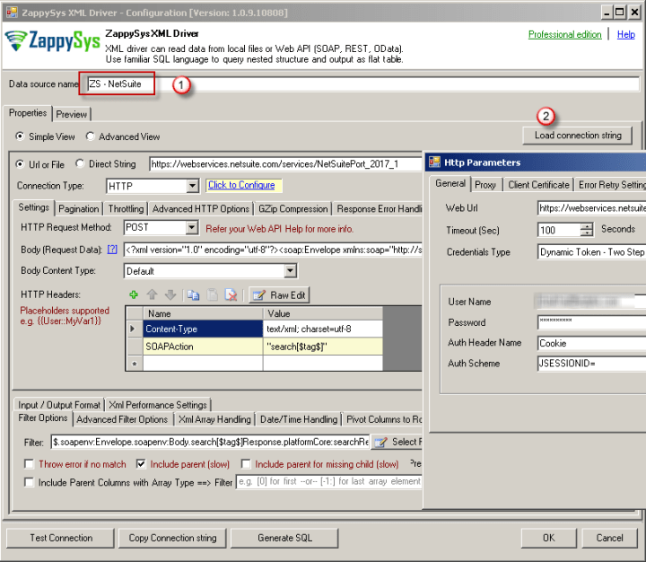 NetSuite ODBC Connection Settings (ZappySys XML Driver)