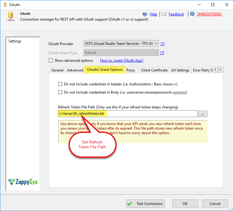 OAuth Connection with Changing Refresh Token Setting