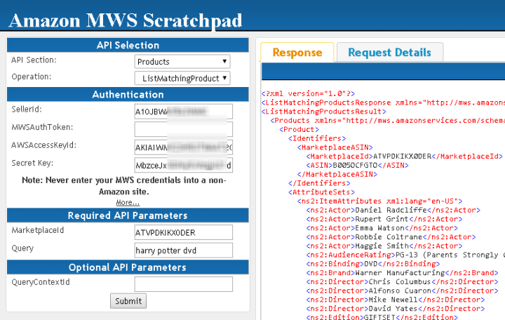 Using Amazon MWS ScratchPad (API Testing Tool - Created by Amazon)