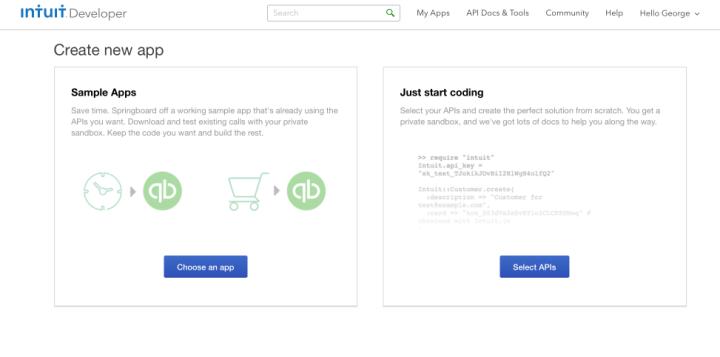 Create new App: Select APIS