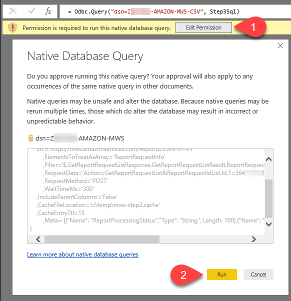 Power BI - Run Native Database Query Prompt