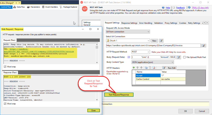Create New Invoice in QuickBooks Online Account: Do Test Request/Response