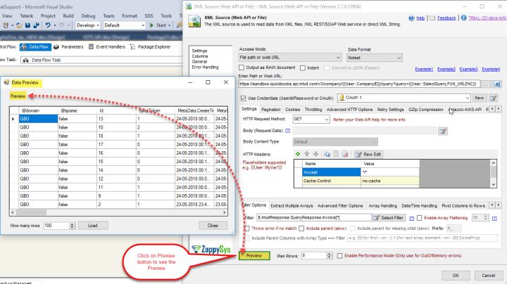 SSIS XML Source Component: See Preview to read data from QuickBooks Online