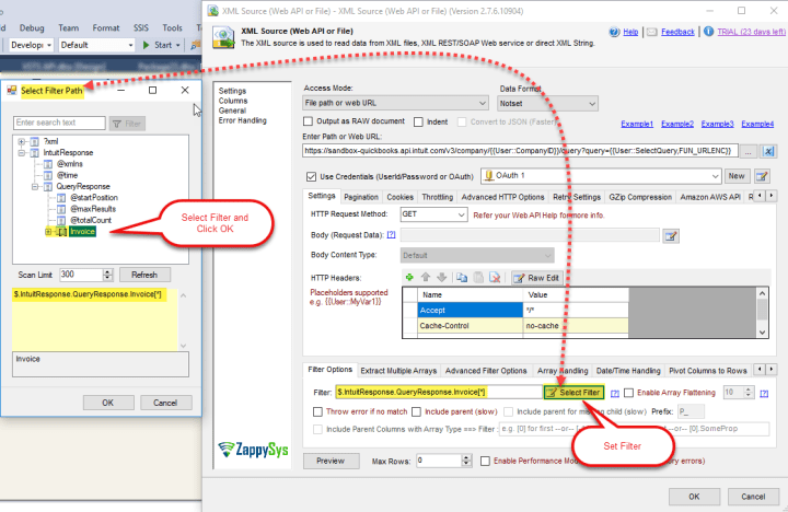 SSIS XML Source Component: Select Filter to read data from QuickBooks Online