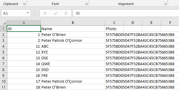 Stored Data into Excel File