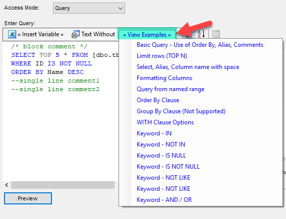 Read from Excel File using SQL Query Mode Examples