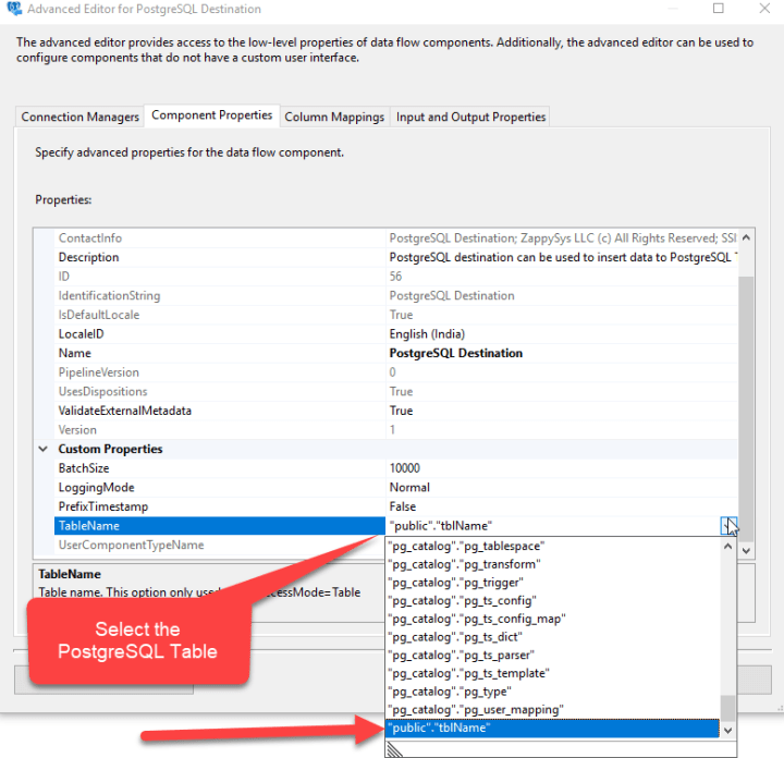 Select The PostgreSQL Table
