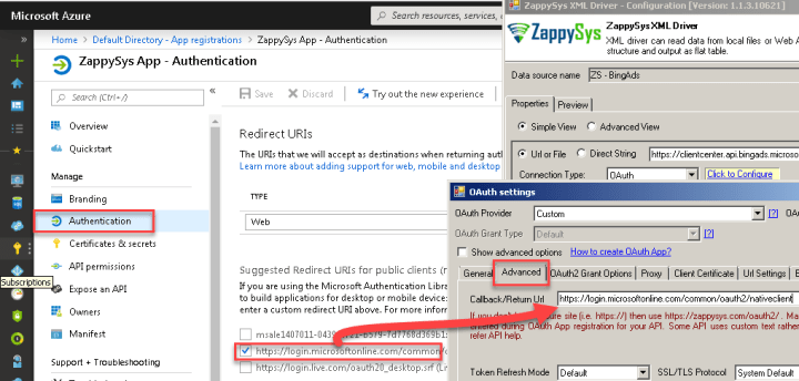 Configure Redirect URI for Bing Ads API OAuth Connection