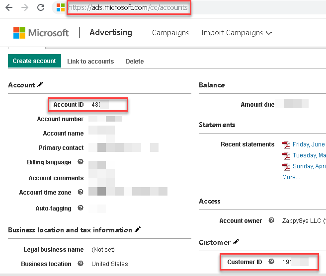 Obtain Bing Ads AccountId, ClientId for APi calls