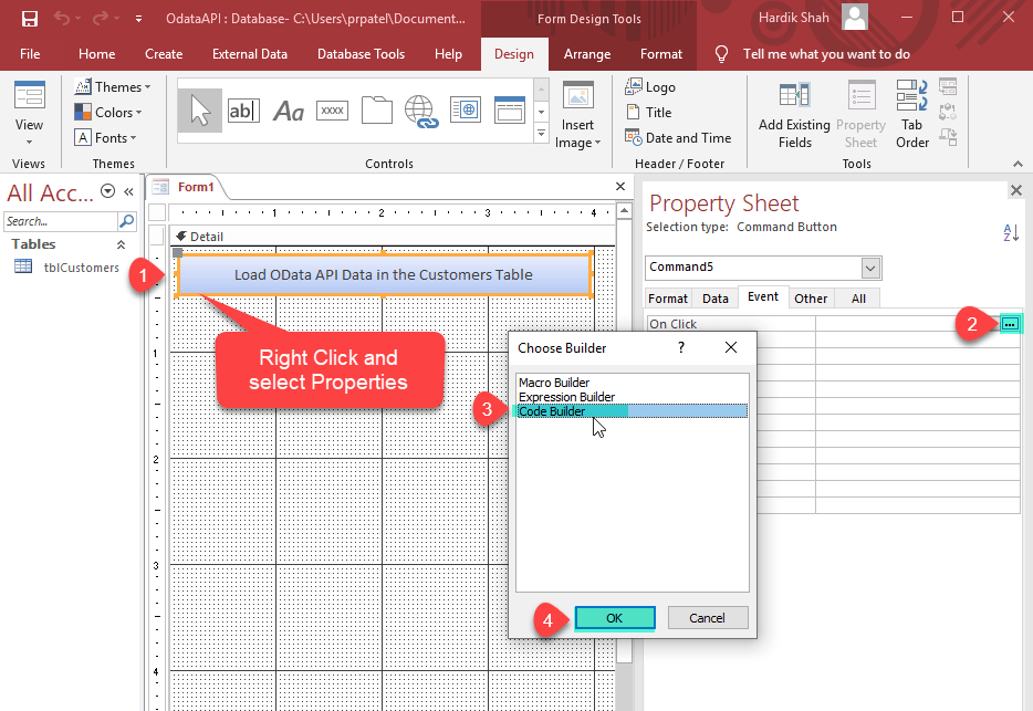 How to Export REST API to MS Access using VBA Command Button