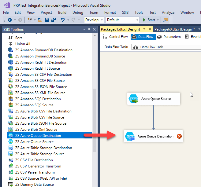 Drag and Drop ZS Azure Queue Destination