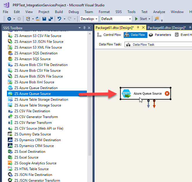 Drag and Drop ZS Azure Queue Source