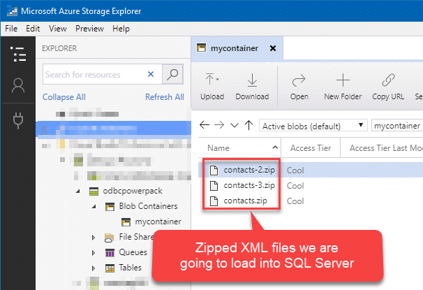 Zipped XML files located in Azure Blob container to be loaded into SQL Server
