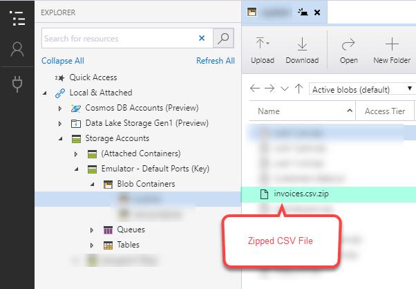 Azure Blob Container - CSV File Located