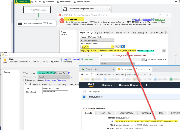 How to Purge Amazon SQS Queue in SSIS (Clear Queue / Delete All messages using PurgeQueue REST API)
