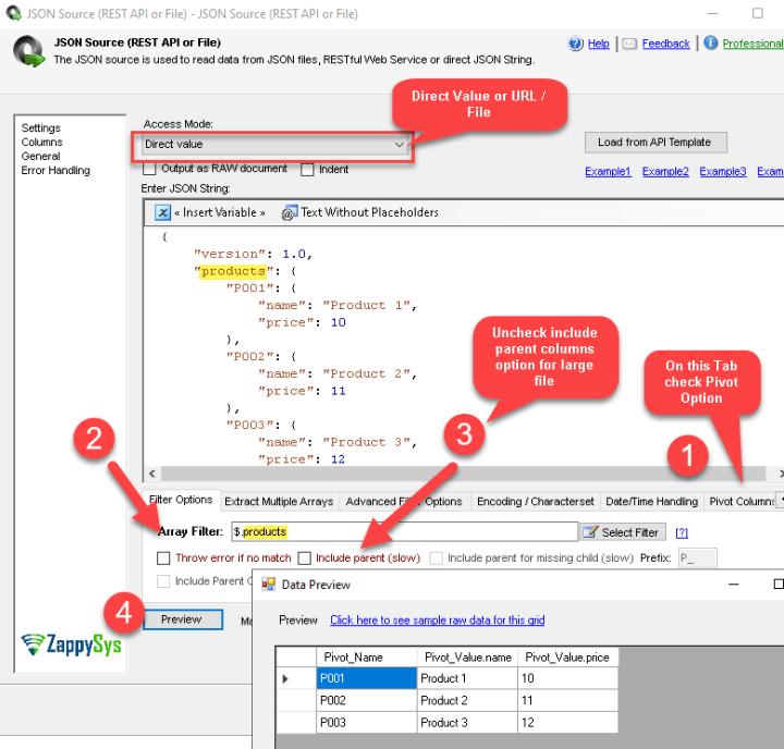 Pivot JSON Data using SSIS JSON Source