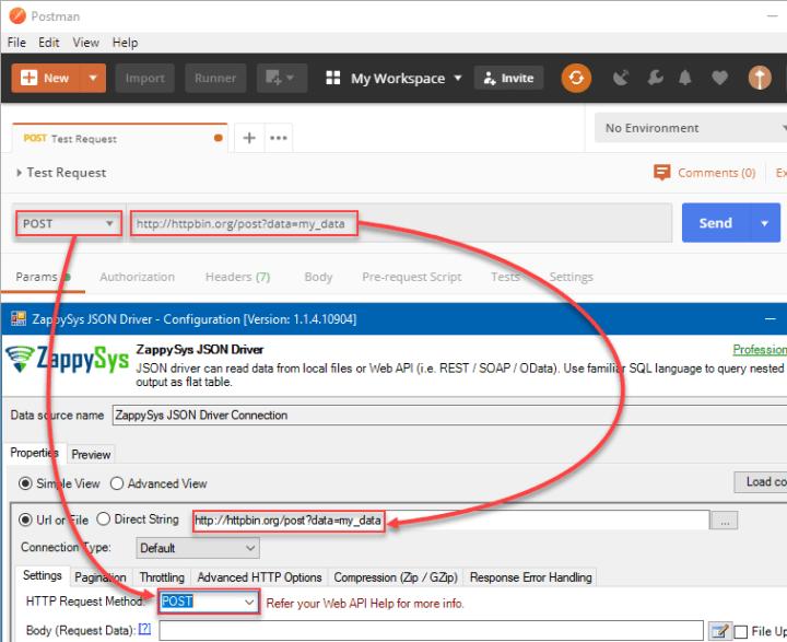 Migrate Postman API call to SSIS / ODBC (API URL setting to ODBC Driver (GET / POST) )